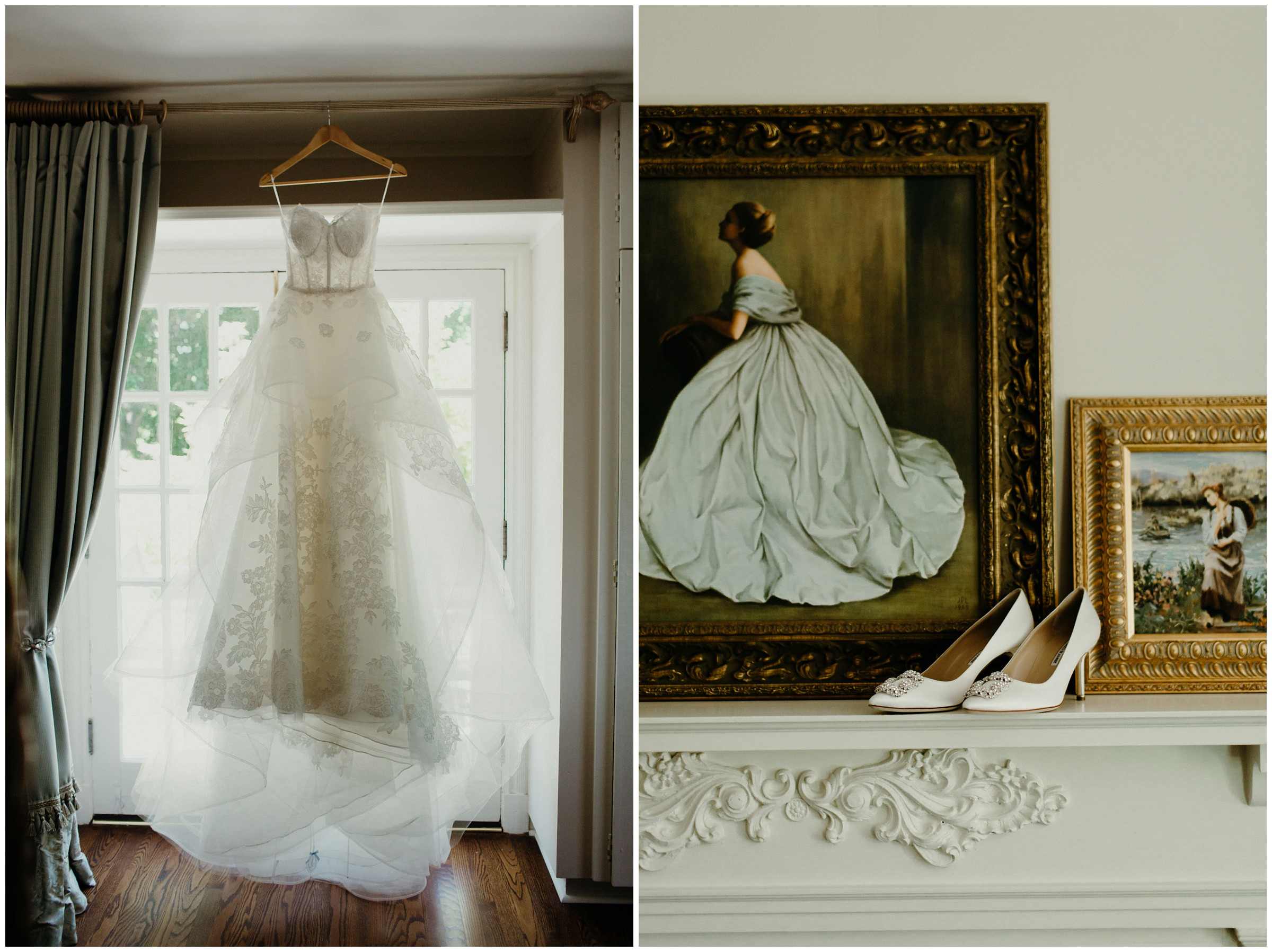 wedding dress hanging up and shoes in front of renaissance painting