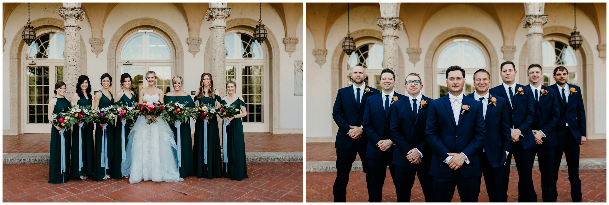 bridesmaids and groomsmen at philbrook museum wedding