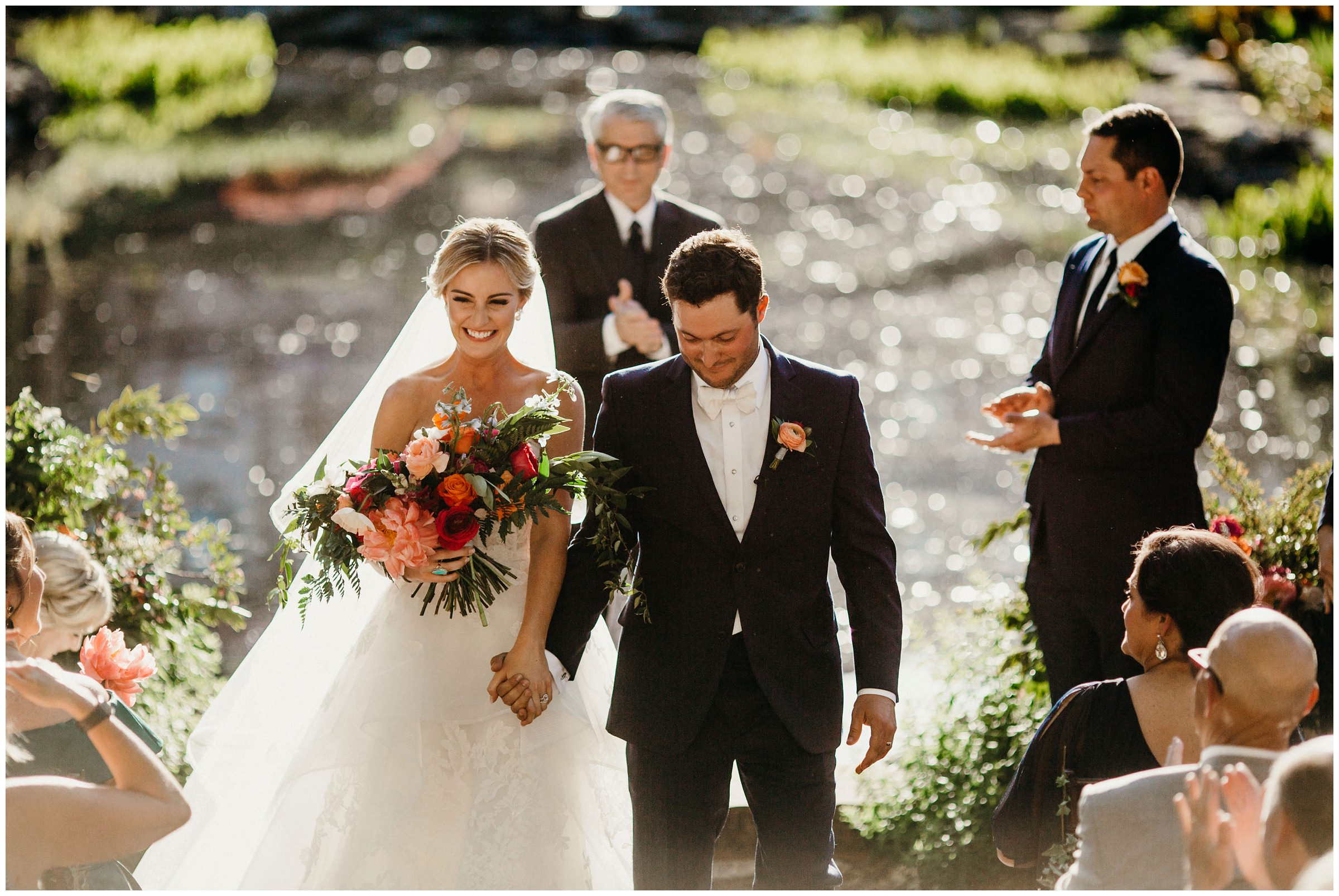 couple exits at philbrook museum wedding
