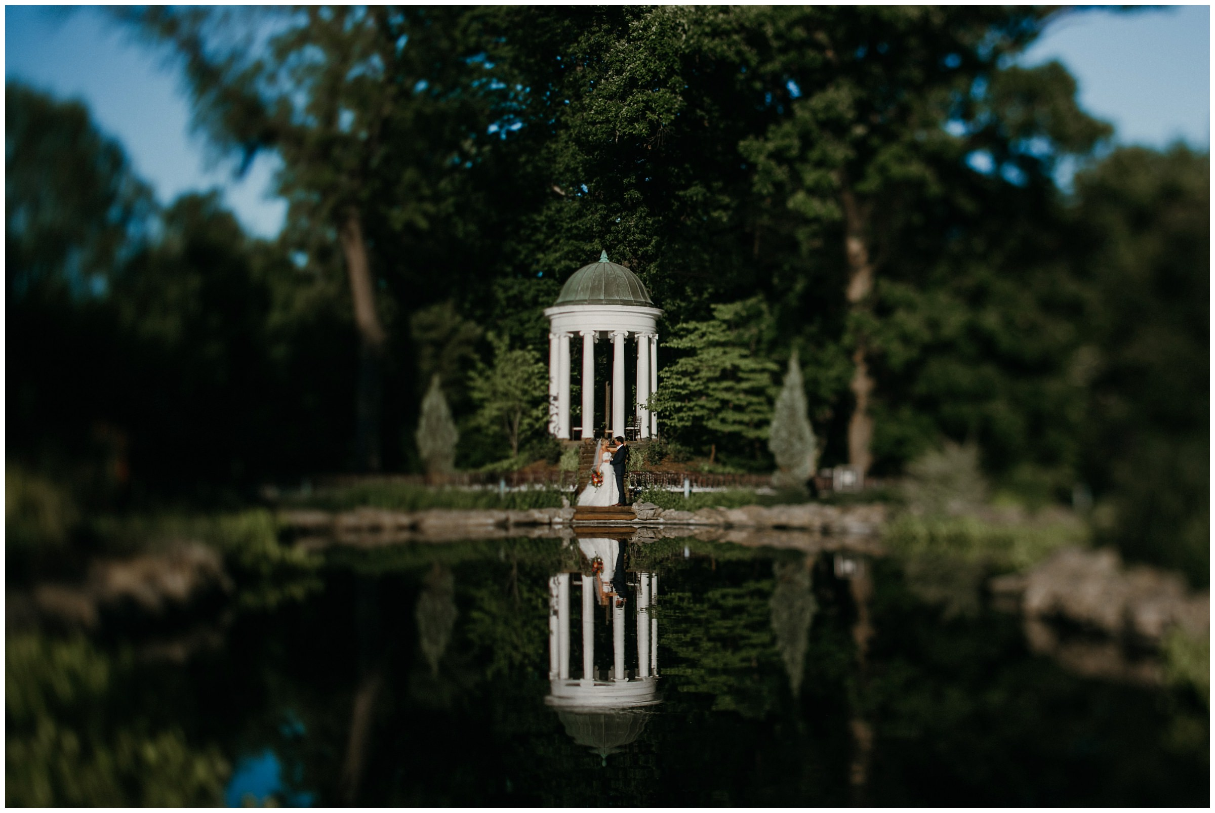 philbrook museum wedding reflection in water