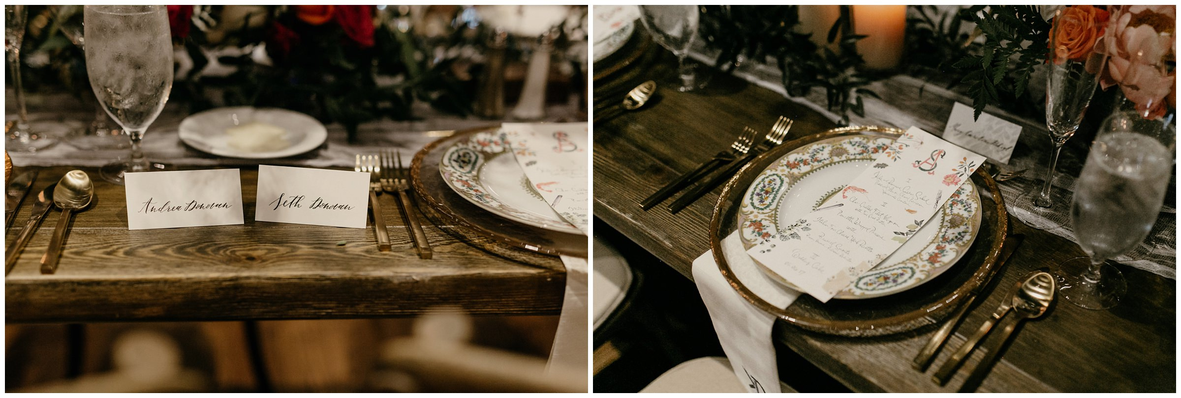 vintage plate design at southern hills country club wedding