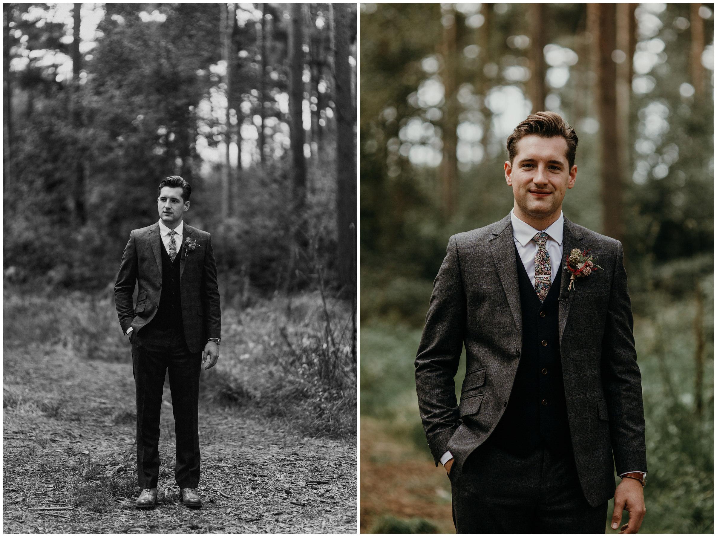 groom in tweed suit