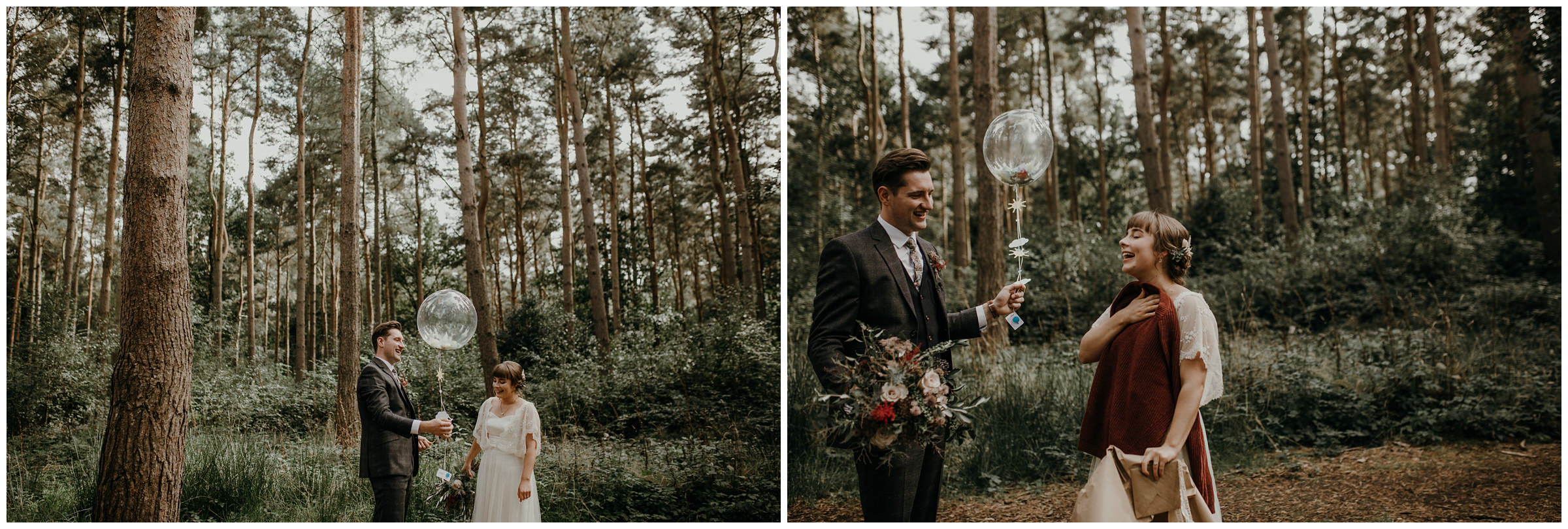 bride gives groom balloon gift at first look