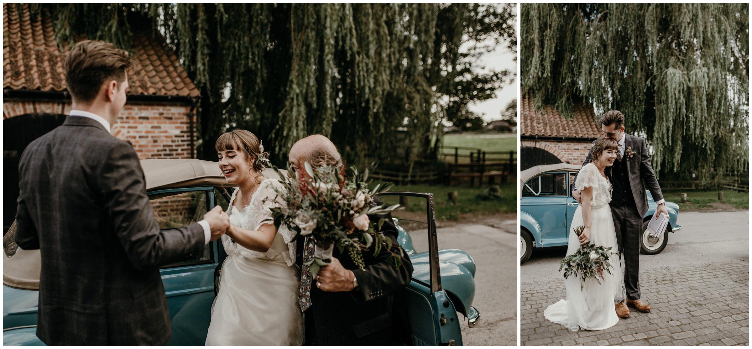 bride and groom arrive to poppleton tithe barn york england