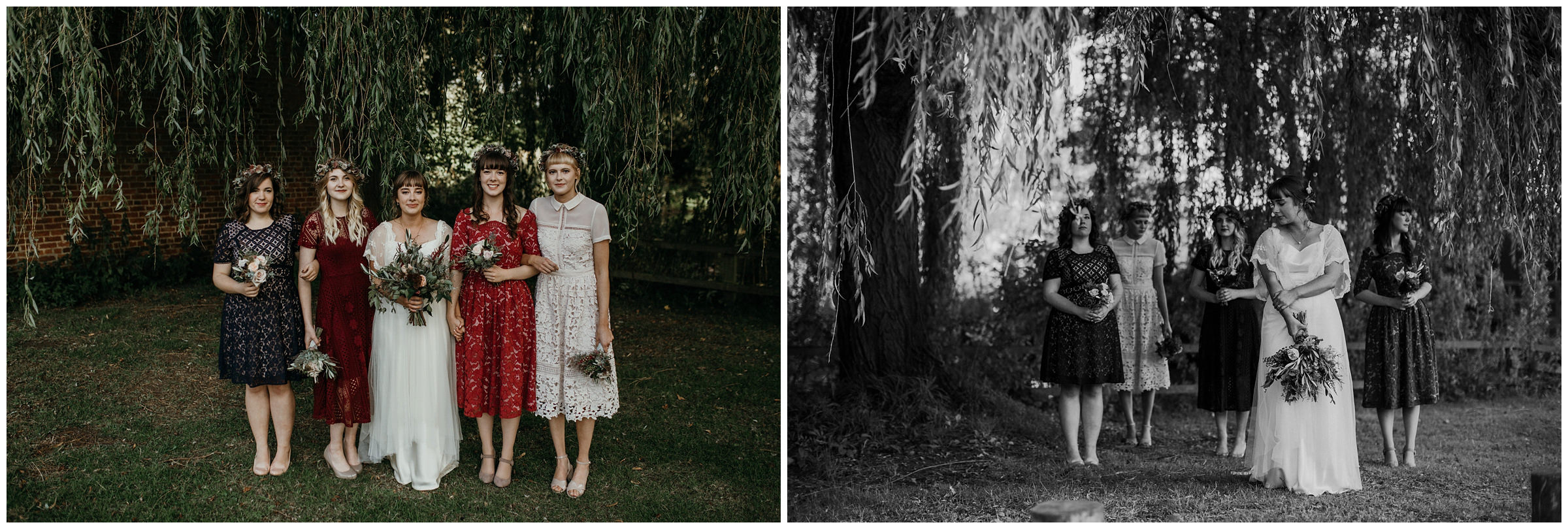 eclectic bridesmaid style at poppleton tithe barn in york england