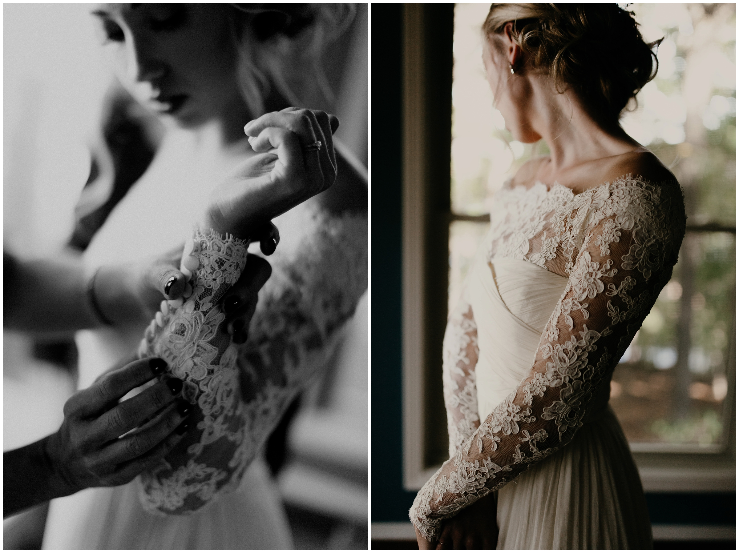 bride in lace wedding dress off the shoulders