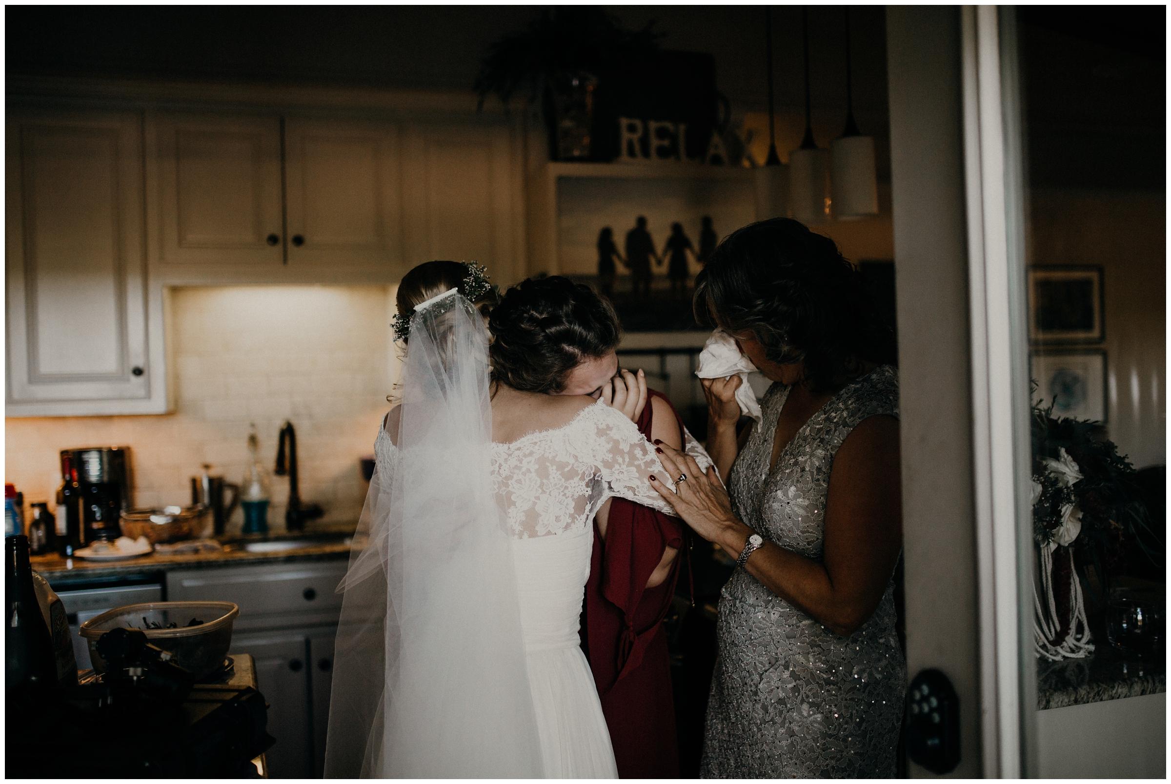 brides sister crying at wedding