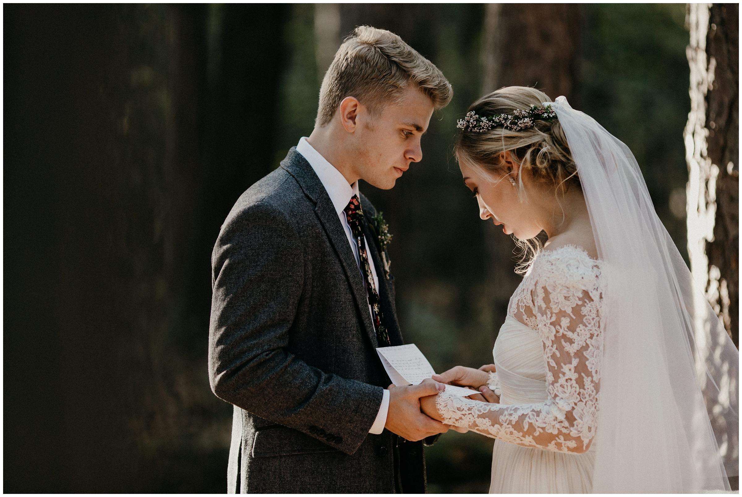 bride reads letter to groom on wedding day