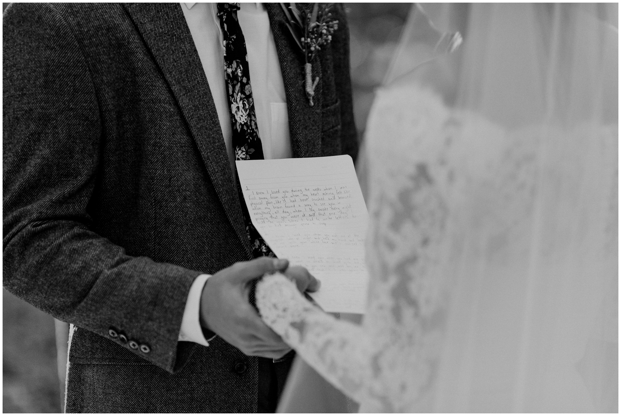couple exchanges letters on wedding day