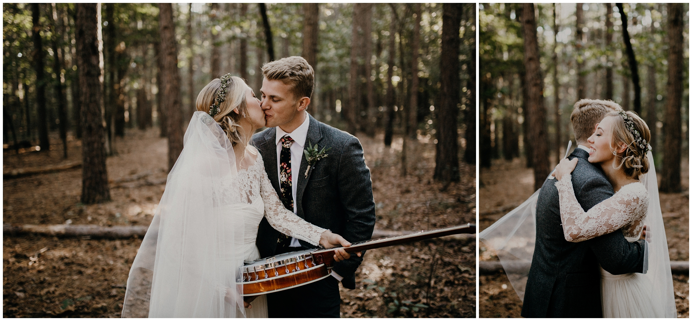 groom gives bride a banjo