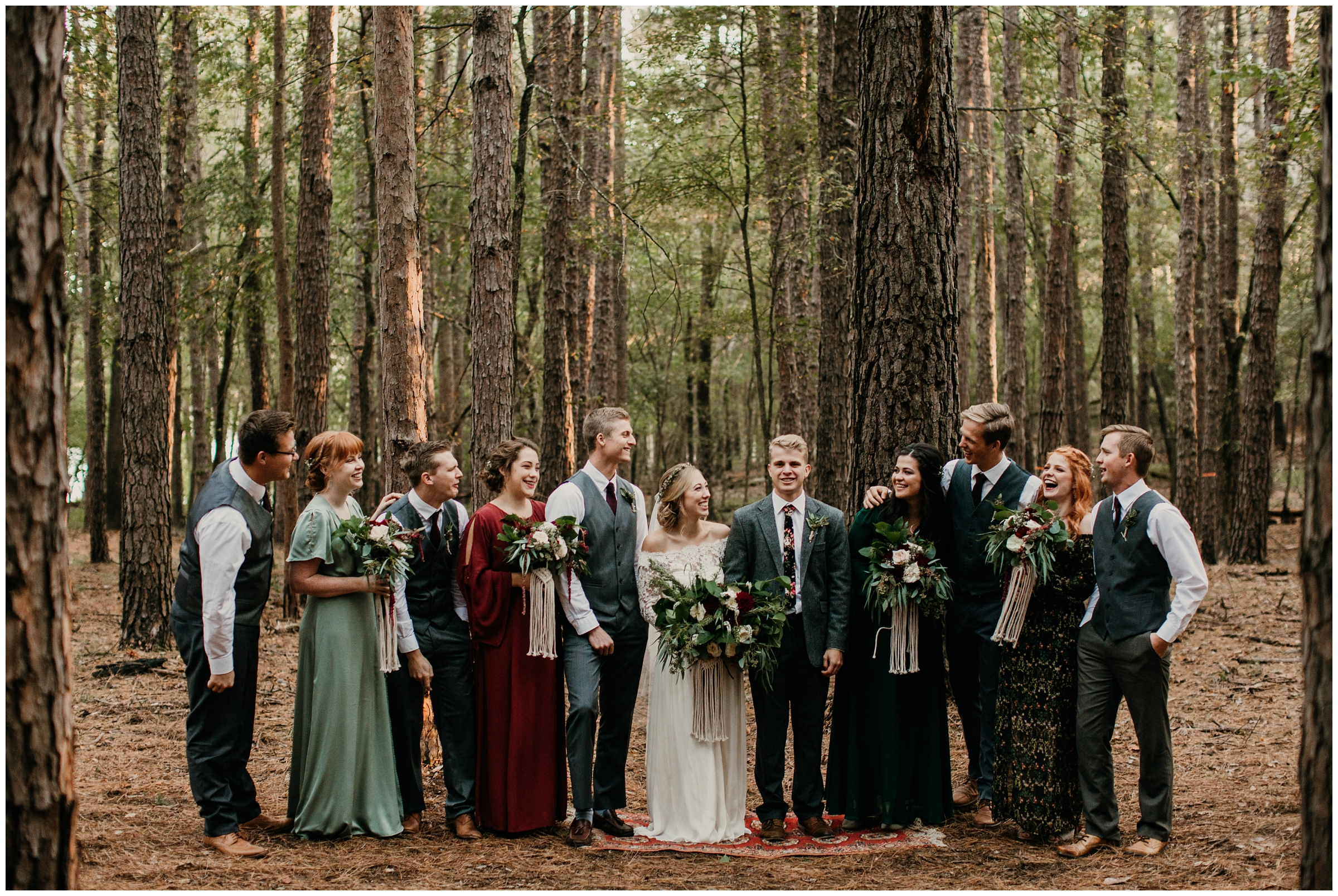 boho bridal party forest wedding rogers arkansas photographer