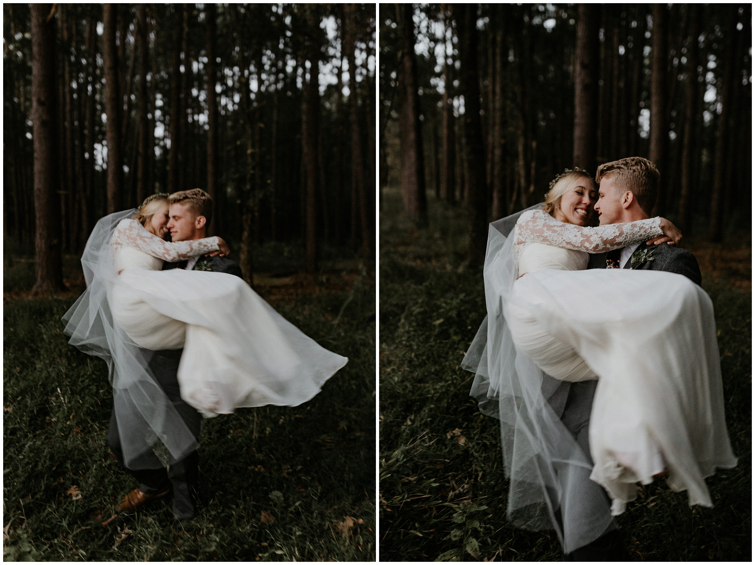 groom picking up bride and spinning her