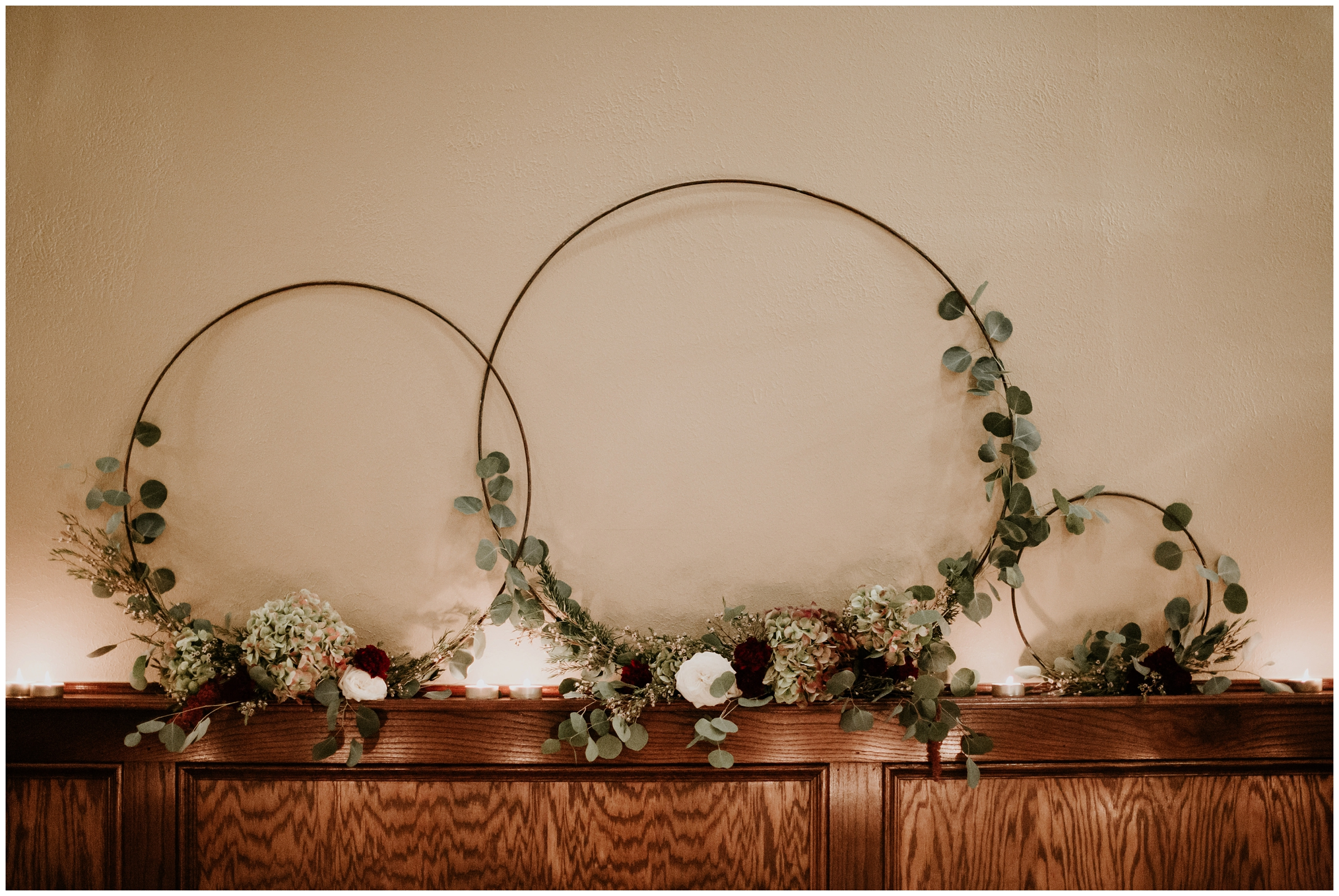 floral wreath metal ring decor