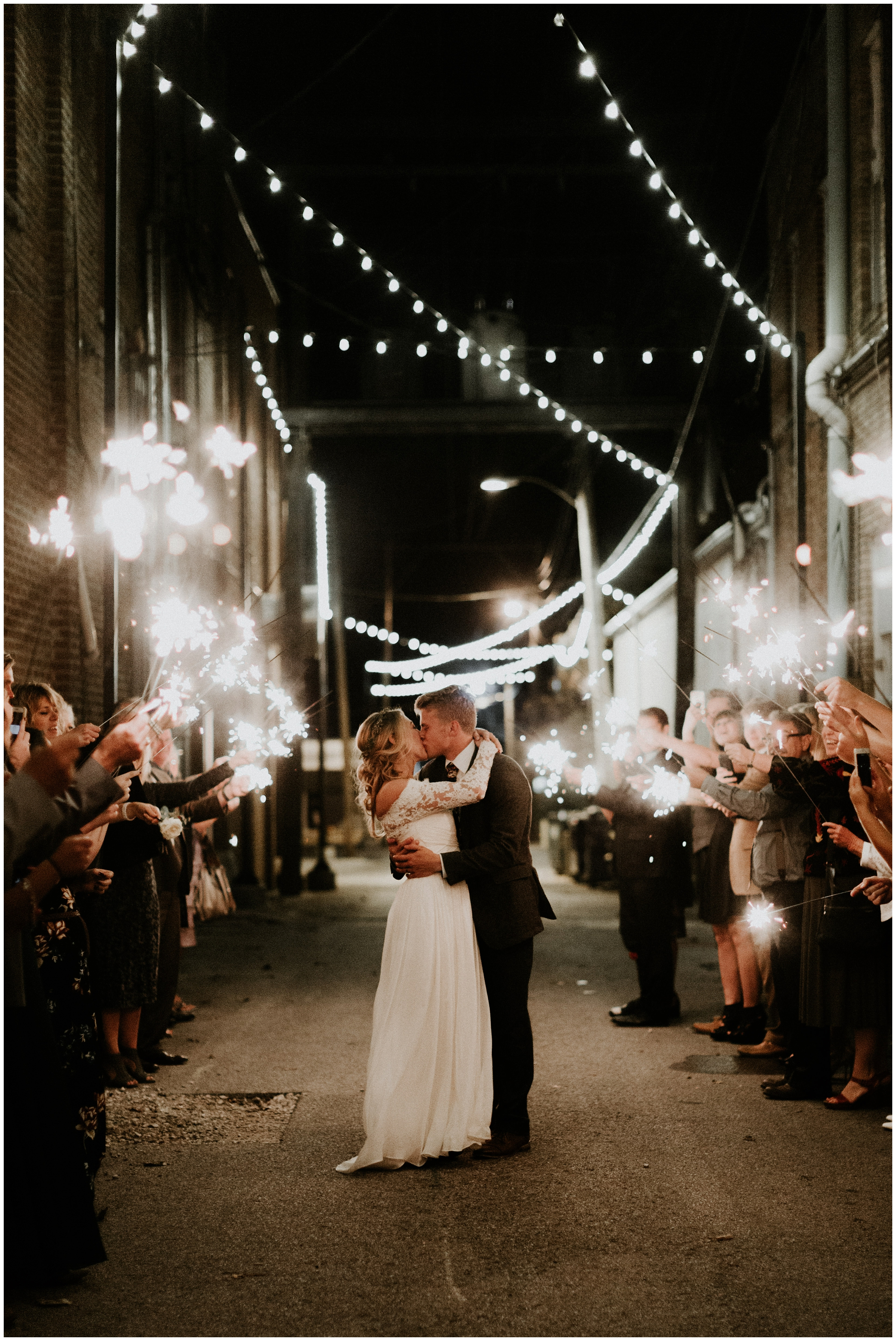 sparkler exit downtown rogers arkansas wedding photography