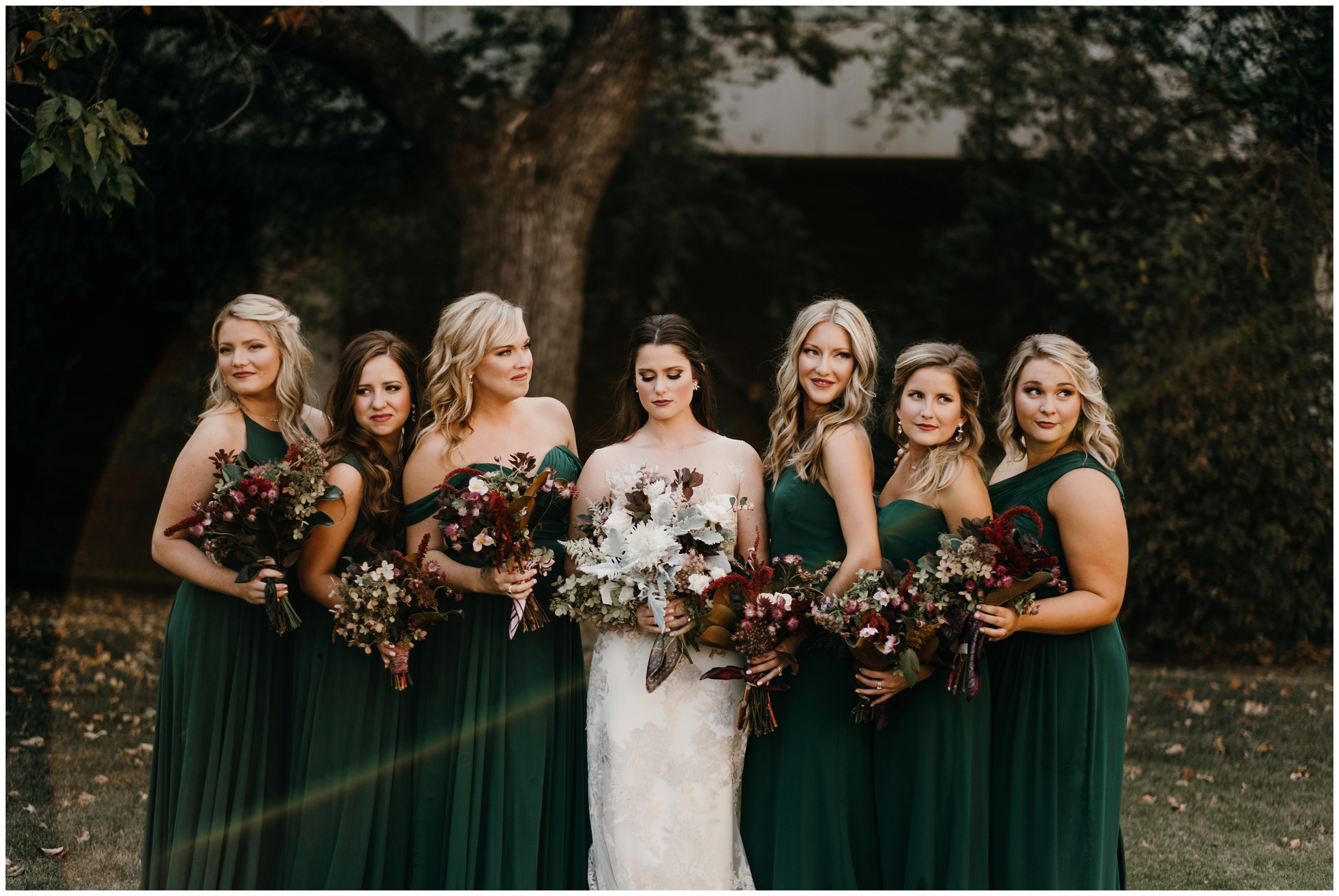 bridesmaids at old main lawn