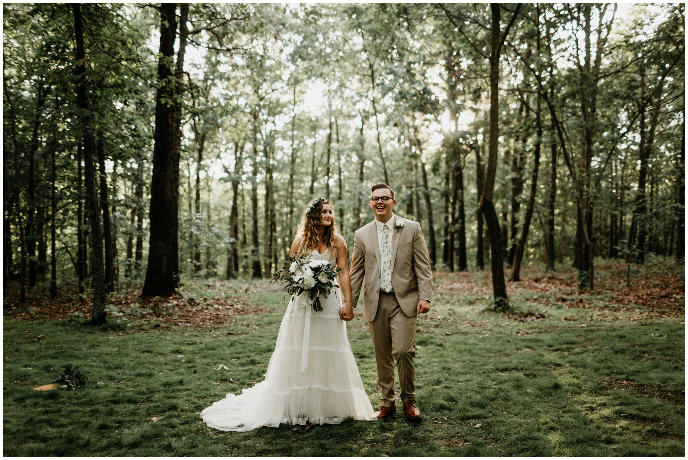 bride and groom forest wedding arkansas photographer