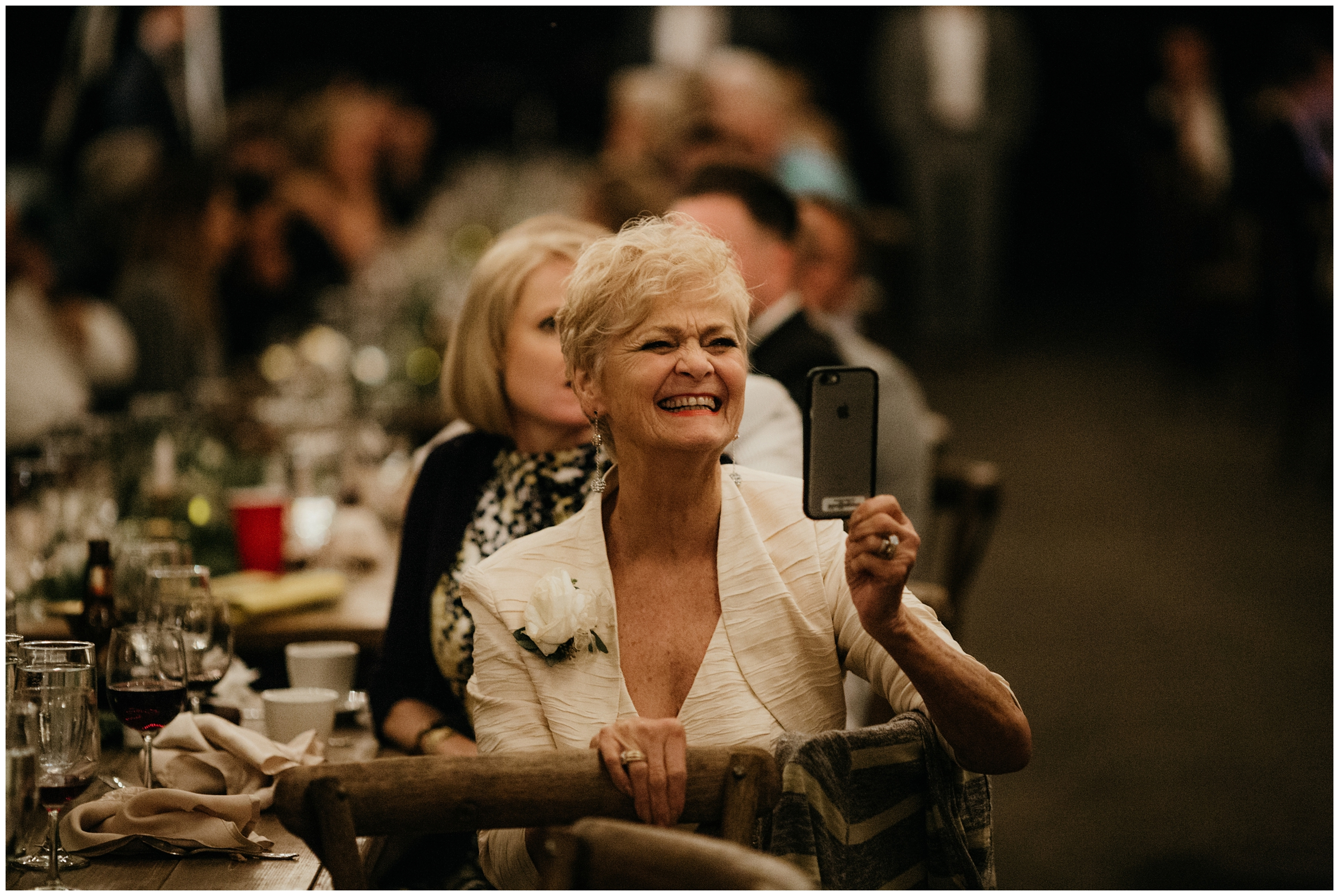 grandma smiling at wedding