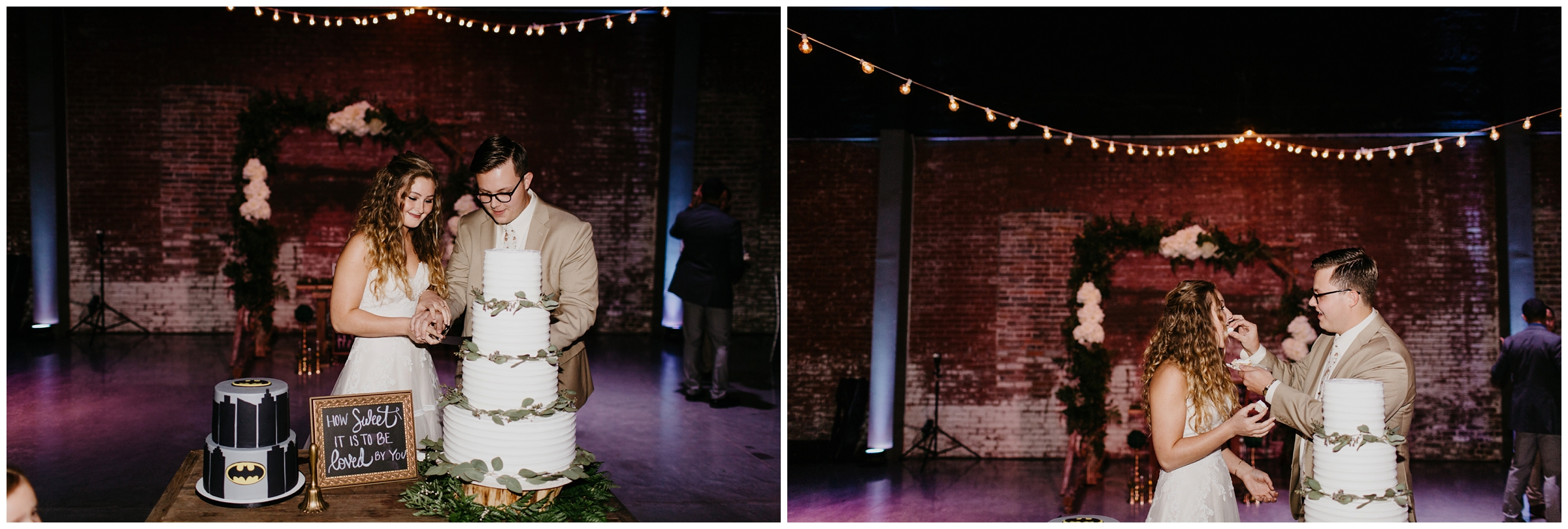 bride and groom cut cake at industrial wedding springfield missouri