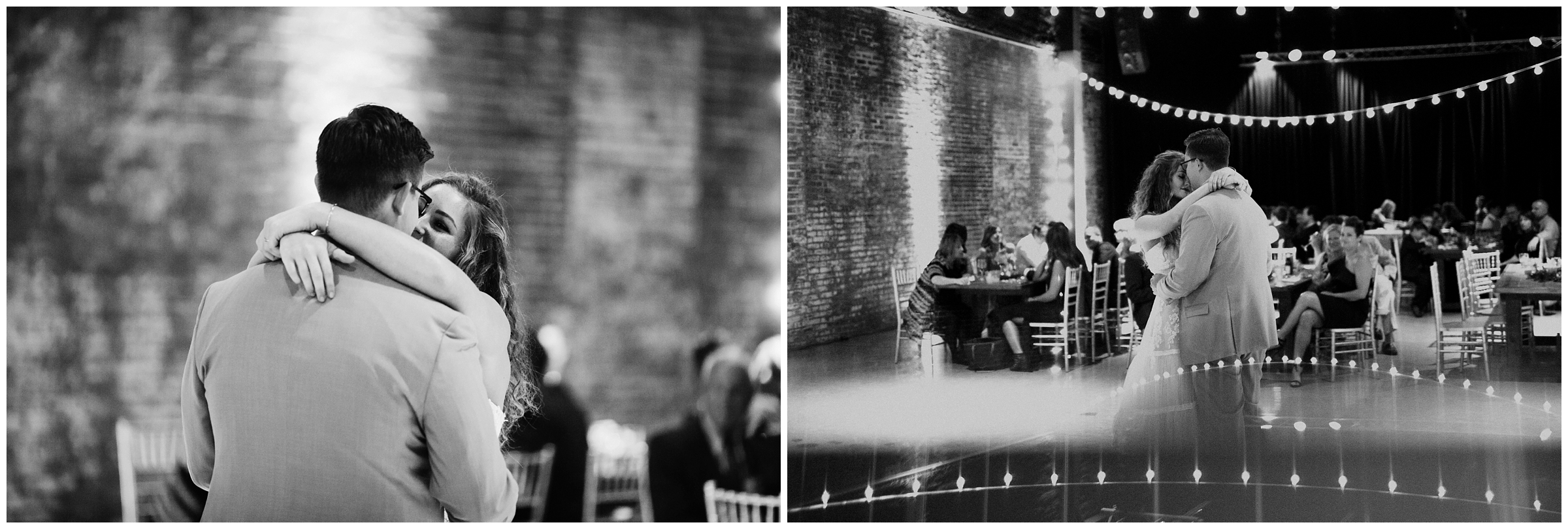 bride and grooms first dance at industrial modern wedding reception