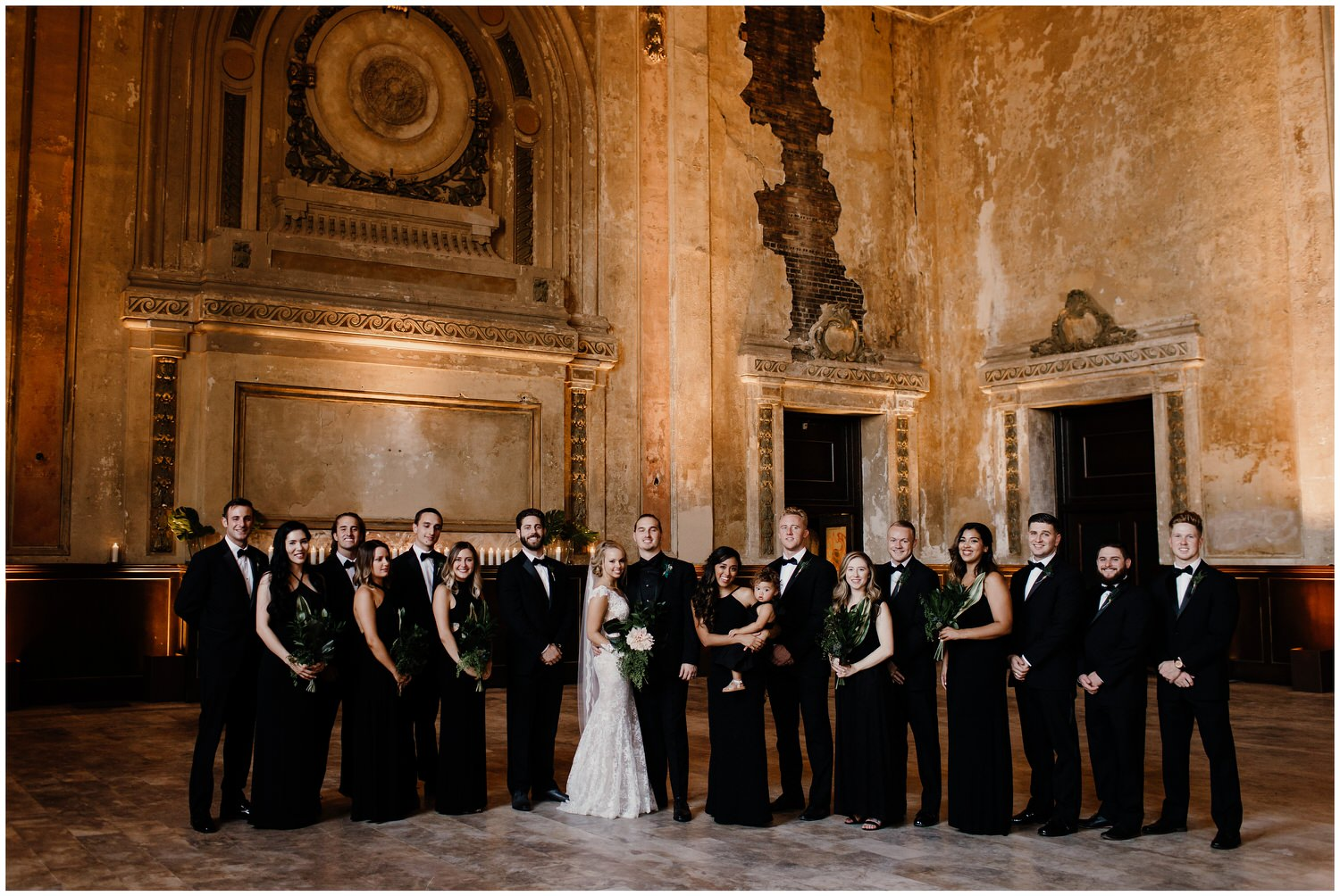 wedding party dressed in black