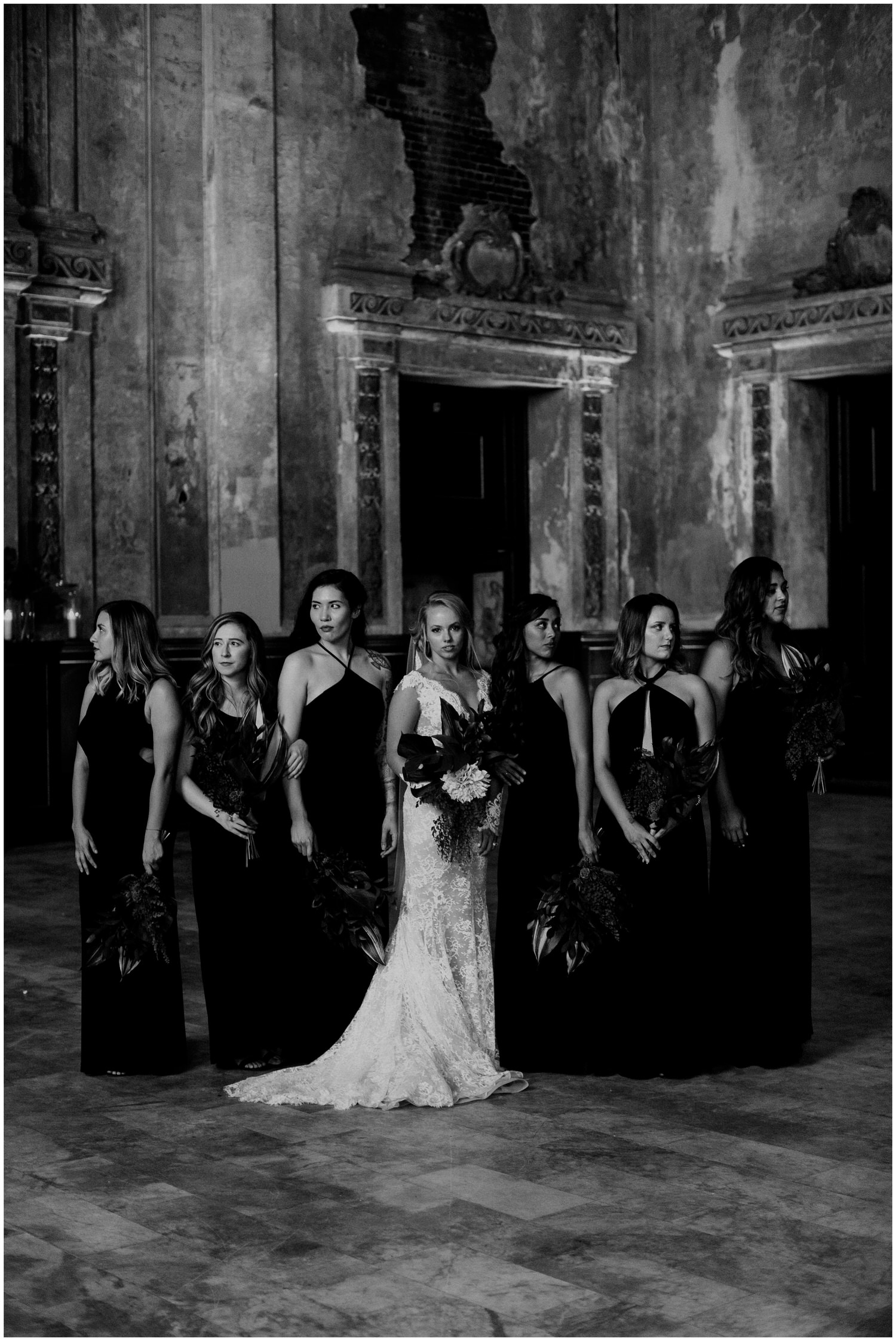 chic bridesmaids dressed in black dresses