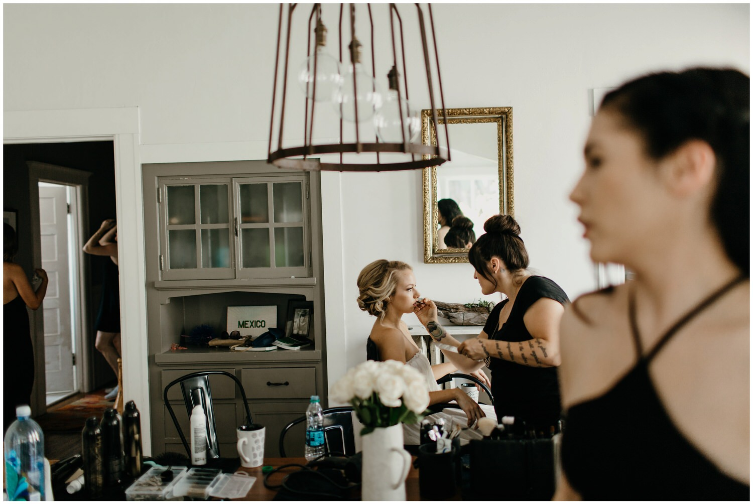 bride getting ready for wedding at airbnb