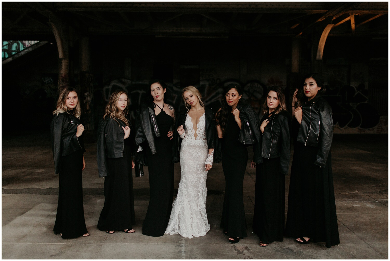 bridesmaids in embroidered leather jackets
