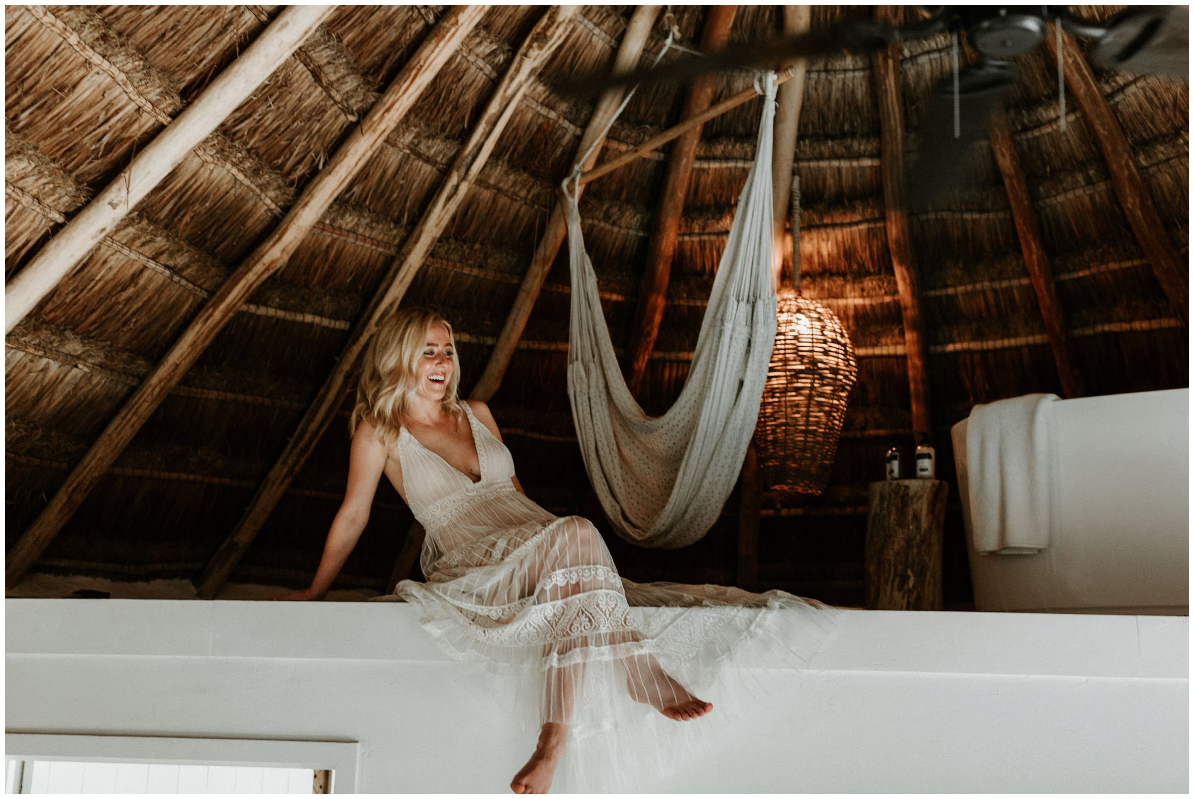 bride next to hammock at nest tulum