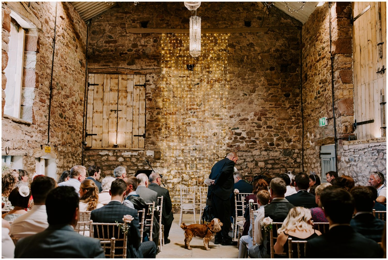 eden barn wedding with dog