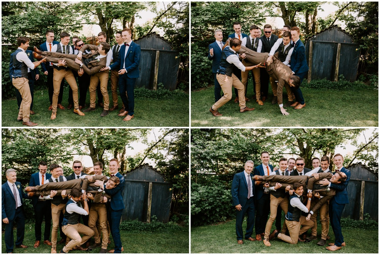groomsmen picking groom up