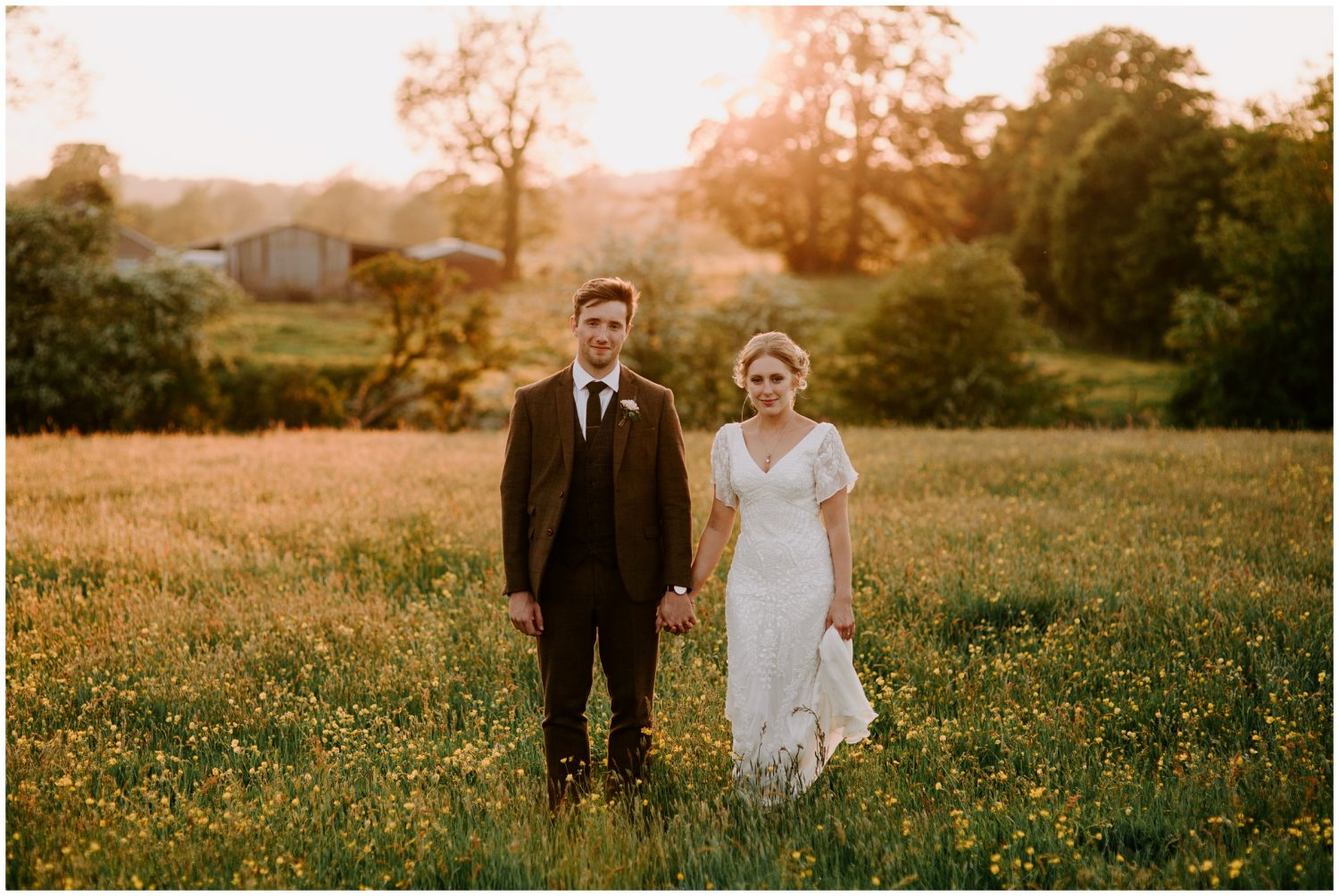 bride and groom golden hour photos at eden barn