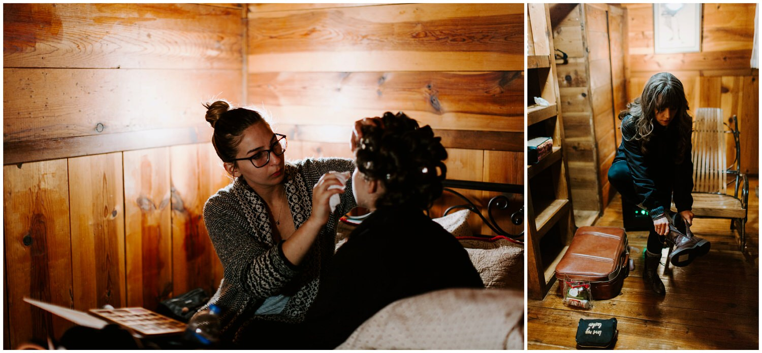 bride getting makeup done in cabin