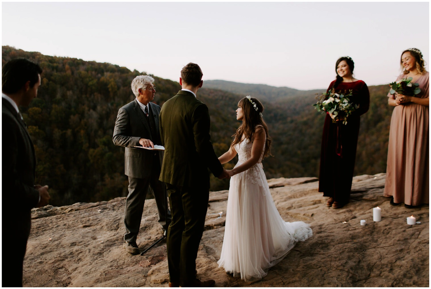 cliffside candlelit wedding ceremony