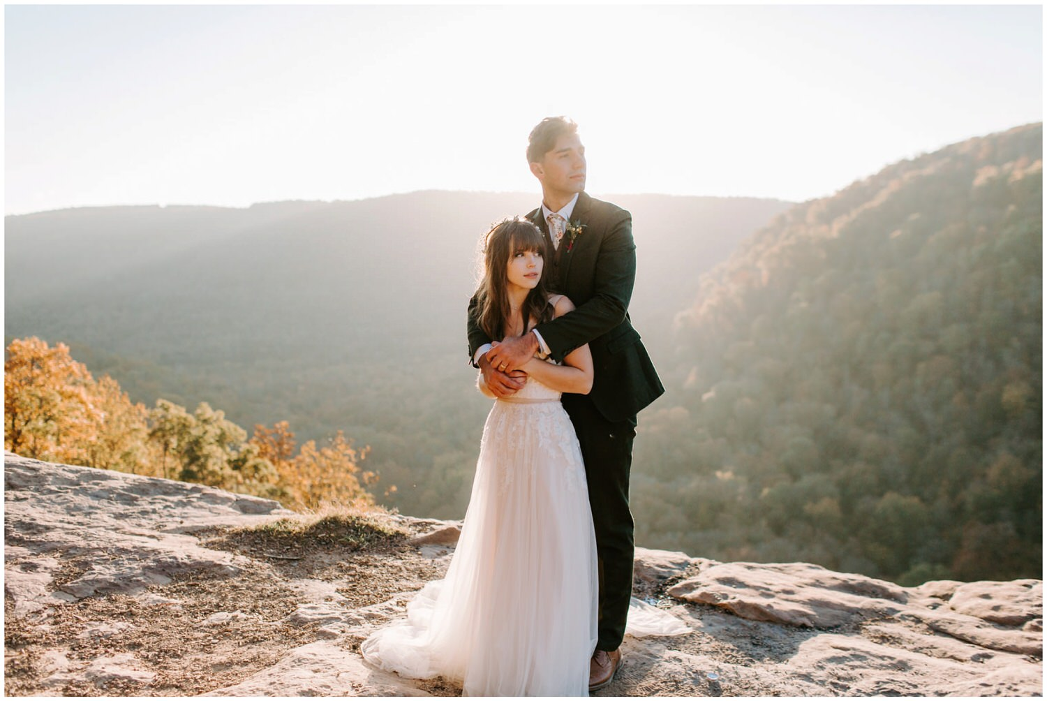 adventurous wedding couple wearing bhldn
