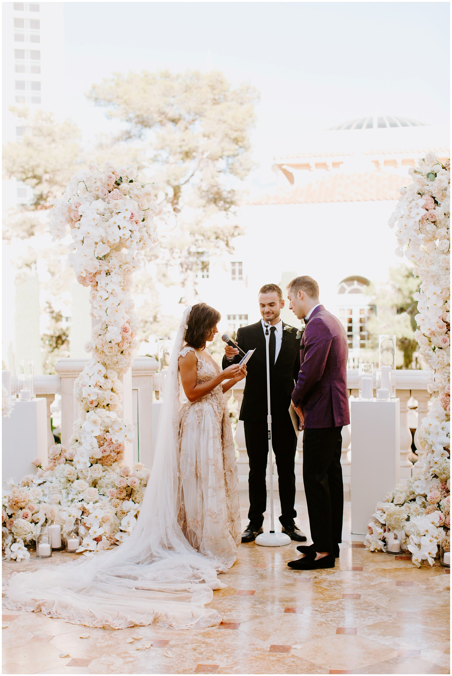 extravagant ceremony floral installation by butterfly florals in las vegas