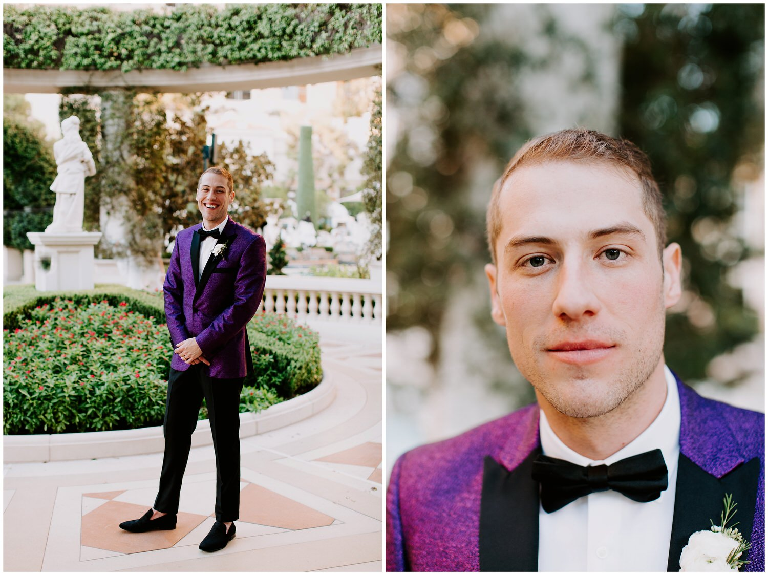 groom with purple glitter tuxedo unique style