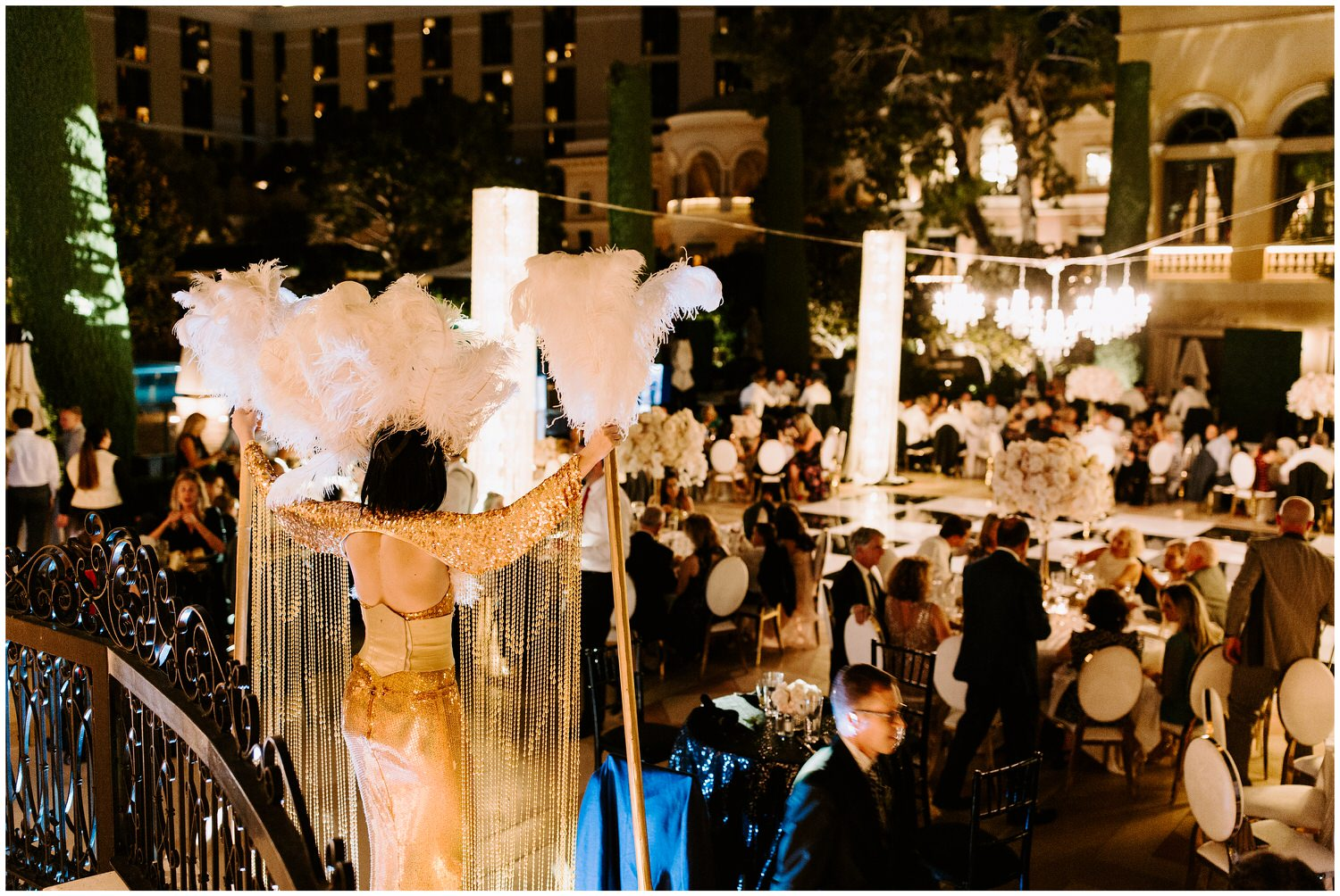 amazon woman at gatsby wedding at bellagio wedding reception