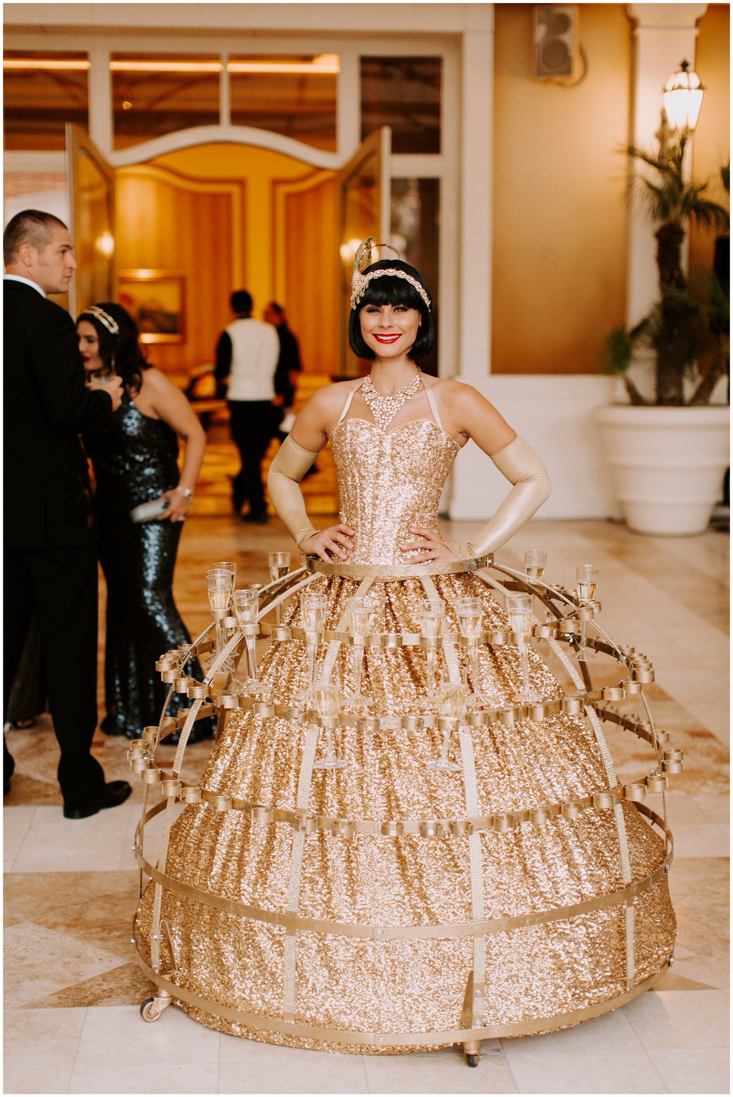 champagne girl vegas at wedding reception