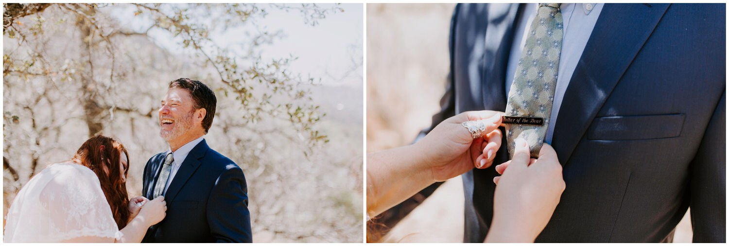 bride pinning father of the bear pin on father