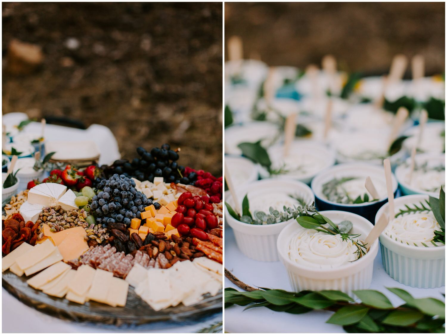 charcuterie board and cheesecake at intimate sequoia national park wedding