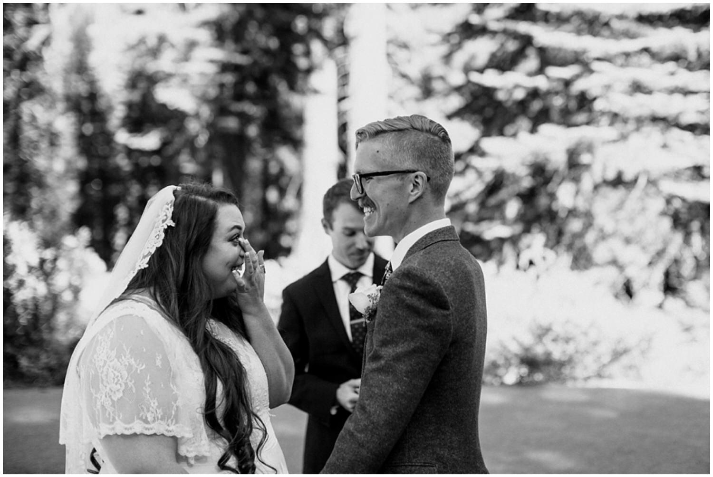 bride getting emotional during wedding ceremony