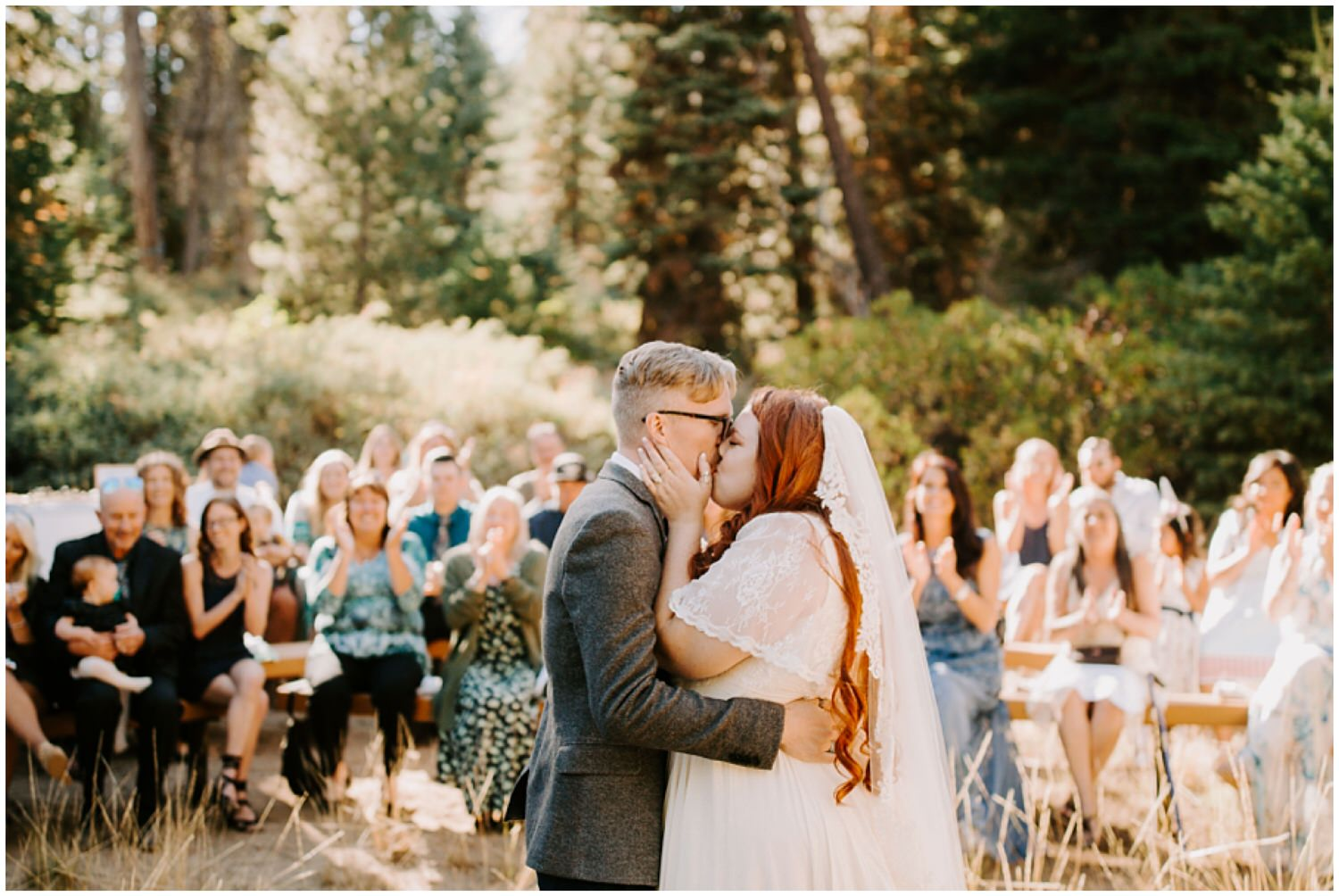 first kiss in national park wedding