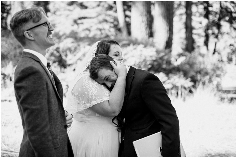 brother of bride emotional hugging