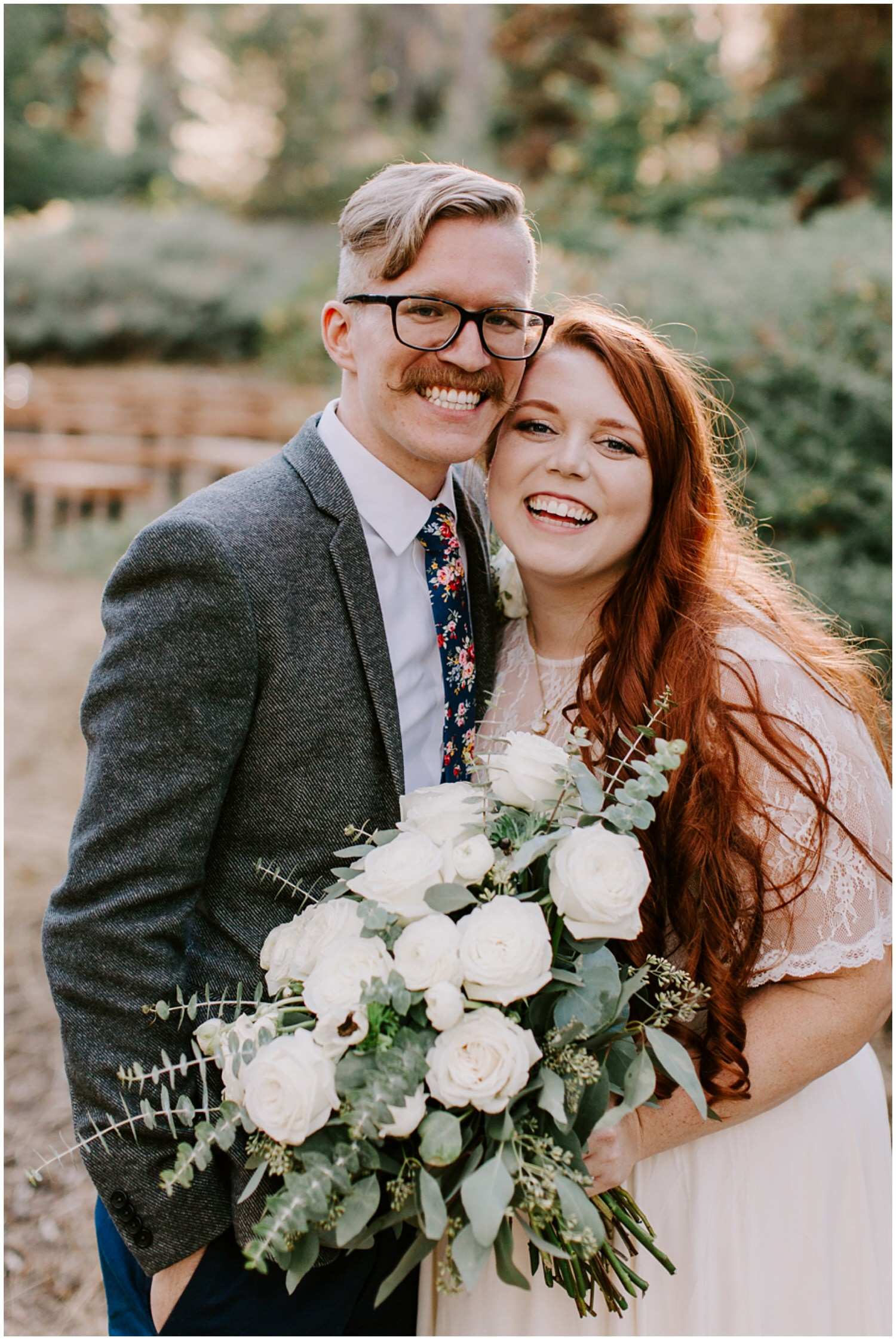 beautiful hip couple smiling at wedding