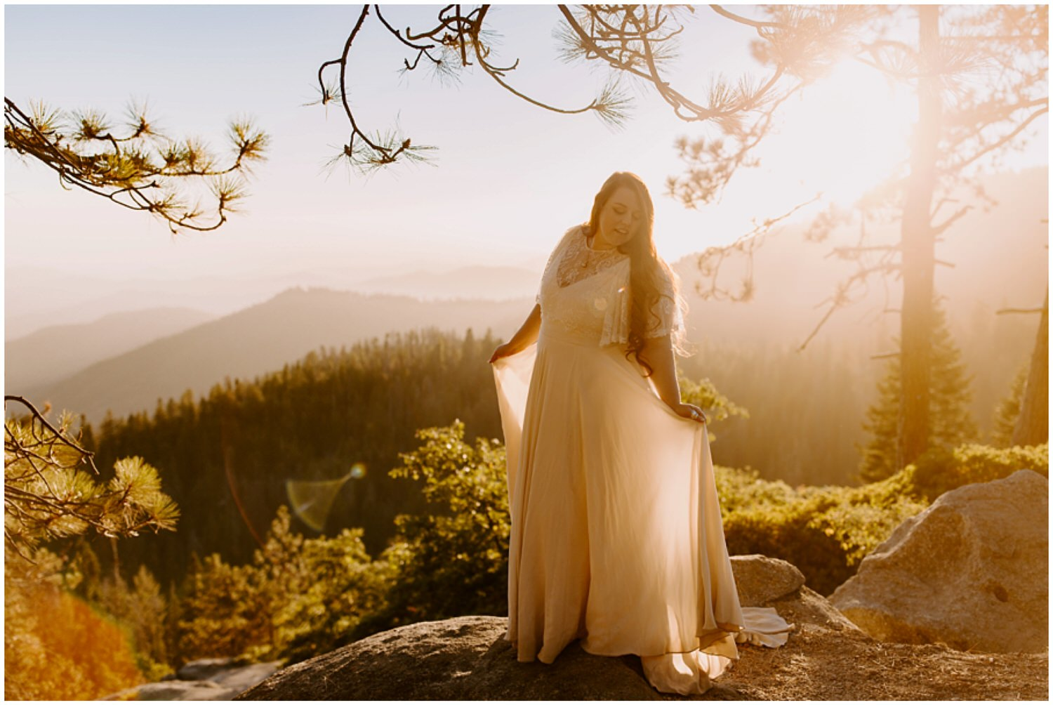 beautiful bride at sunset