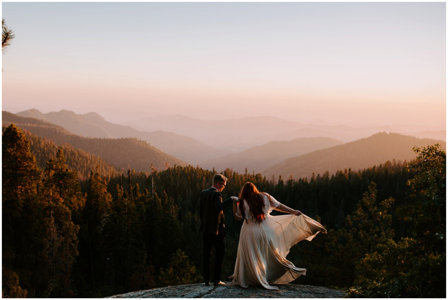 couples portraits at mountaintop at sunset